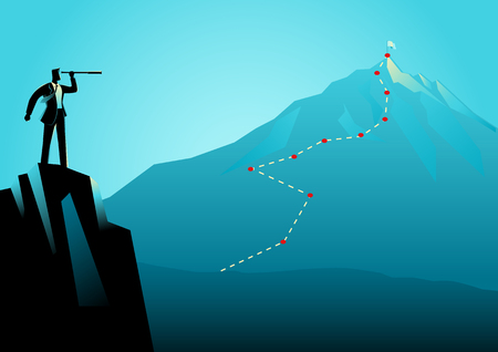 Business concept illustration of a businessman on top of the rock using telescope looking to the top of a mountain. Strategy, planning, forecast in business concept 矢量图像