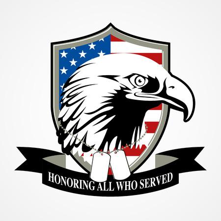 Illustration of American bald eagle head with American Flag Illustration
