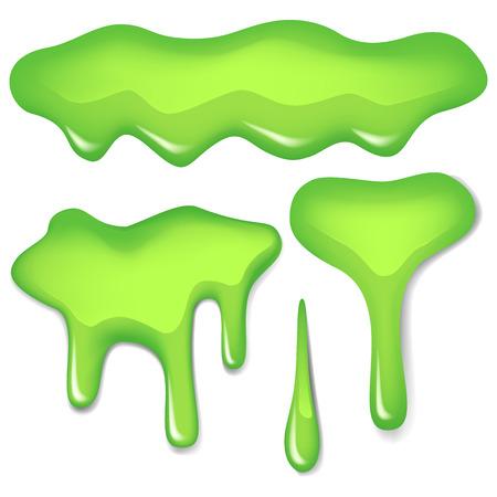 Vector set illustration of green slime isolated on white background