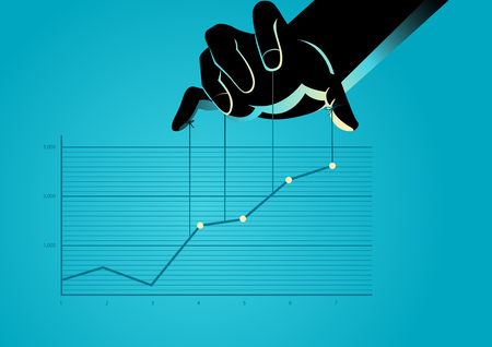 Illustrazione vettoriale di concetto di affari di un burattinaio che controlla grafico grafico Vettoriali