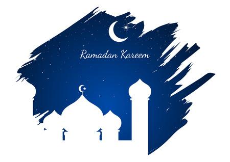 Graphic illustration of a mosque on blue brushed background. Islam, Islamic, Ramadan Kareem, Eid Mubarak theme