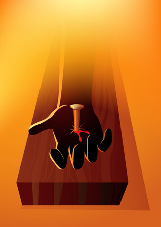 Biblical vector illustration series. Hand of Jesus Christ nailed to the cross