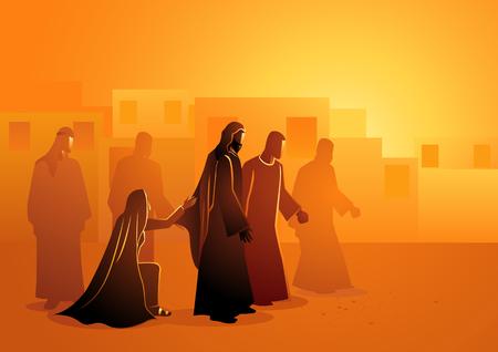 Serie di illustrazioni vettoriali bibliche. Gesù guarisce la donna sanguinante Vettoriali
