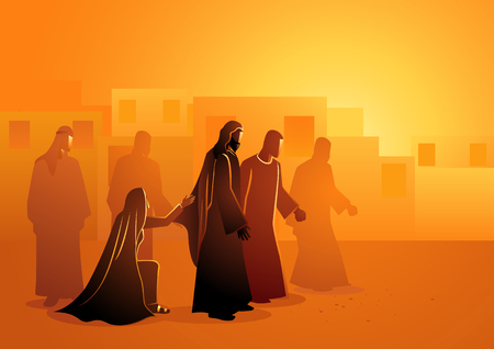 Biblical vector illustration series. Jesus heals the bleeding woman