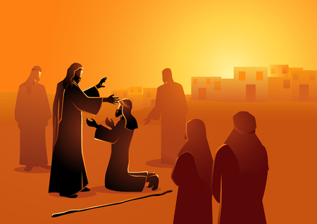 Seria ilustracji wektorowych biblijnych. Jezus uzdrawia niewidomego