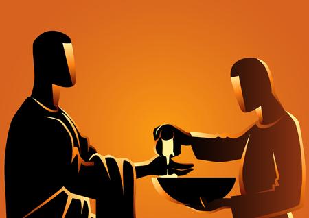 Série d'illustrations vectorielles bibliques, Pilate se lavant les mains