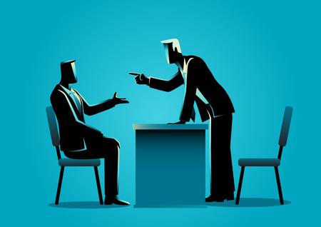 Bedrijfsconcept vectorillustratie van een baas die zijn vinger wijst naar zijn werknemer, zaken, ontslagen, boos managementconcept
