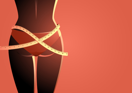 Simple vector illustration of a ideal woman waist with measuring tape. Diet, weight loss concept