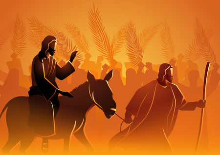 Biblical vector illustration series, Jesus comes to Jerusalem as King Stock Illustratie