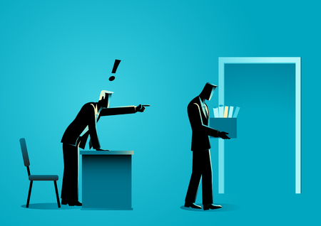 Business concept vector illustration of a sad businessman bringing personal items in box after get fired by his boss