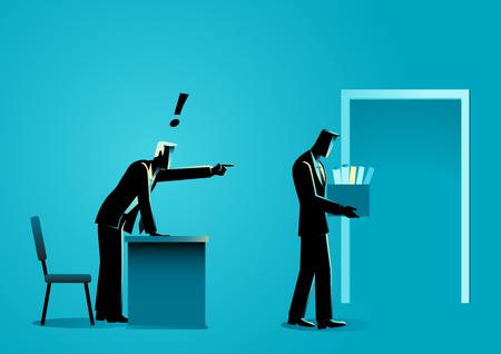 Illustration vectorielle de concept d'entreprise d'un homme d'affaires triste apportant des objets personnels dans une boîte après avoir été licencié par son patron Vecteurs