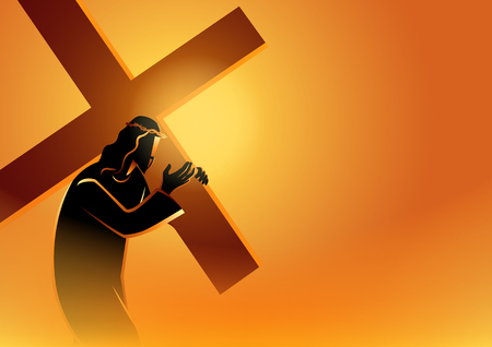 Biblical vector illustration series. Way of the Cross or Stations of the Cross,  Jesus accepts his cross. Imagens - 120716613