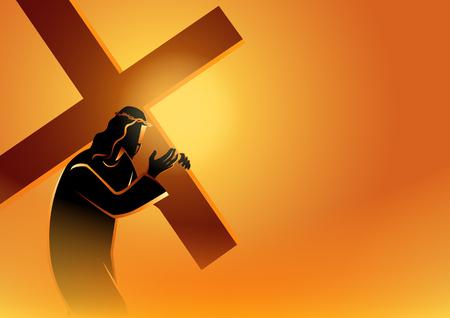 Série d'illustrations vectorielles bibliques. Chemin de Croix ou Chemin de Croix, Jésus accepte sa croix. Vecteurs