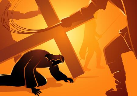 Serie de ilustración vectorial bíblica. Vía Crucis o Estaciones de la Cruz, Jesús cae. Ilustración de vector