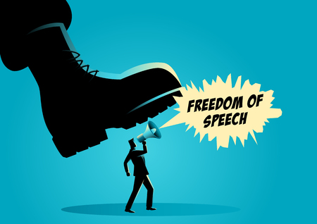 Vector illustration of a giant army boot trampling on a man, dictator, freedom of speech, authority concept  イラスト・ベクター素材