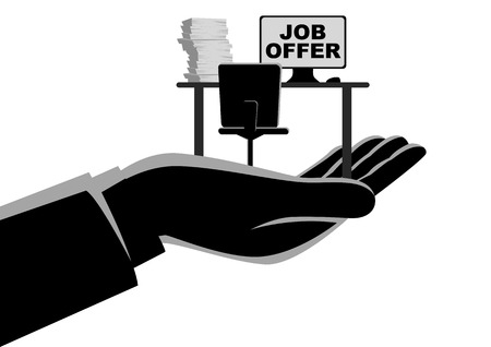 Business concept simple flat vector illustration of a hand offering an empty desk. Job vacancy, job offer concept 일러스트