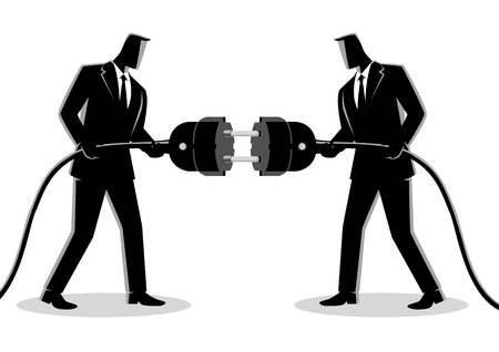 Business concept simple flat vector illustration of two businessmen holding a plug and outlet.