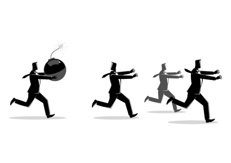 Business concept vector illustration of a businessman holding a huge bomb and his friends running away from him. Troublemaker at work business concept. Illustration
