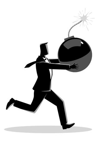Ilustración de vector de concepto de negocio de un empresario corriendo pánico con bomba en la mano que está lista para explotar