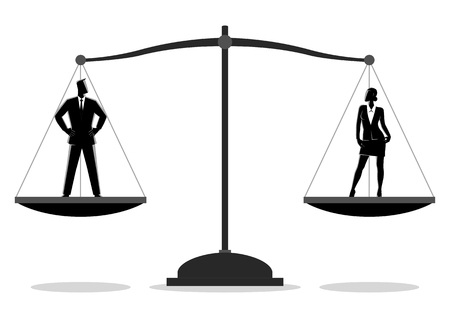 Business concept simple flat vector illustration of a businessman and businesswoman standing on a scale. Gender equality concept Vector Illustration