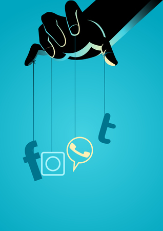 Simple vector illustration of a puppet master controlling social media symbol