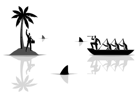 Business concept vector illustration of a businessman get stuck on island with water full of sharks, and businessmen on boat trying to rescue him
