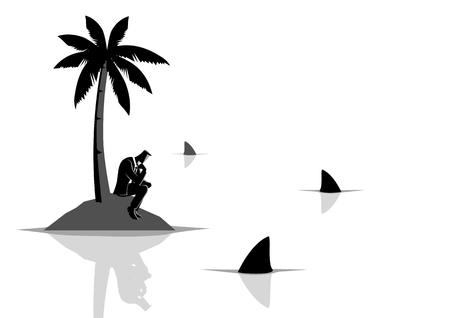Business concept vector illustration of a businessman get stuck on island with water full of sharks, business, financial crisis, frustration, castaway concept Stock Illustratie