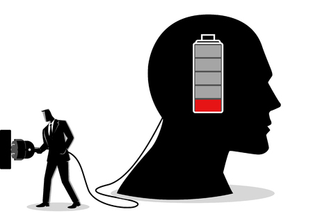 Business concept illustration of a businessman charging a brain 矢量图像