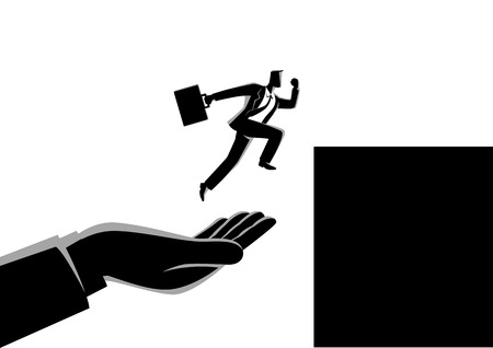 Business concept vector illustration of a hand helping a businessman to jump on higher platform