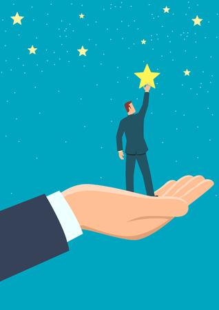 Eenvoudige platte zakelijke vectorillustratie van gigantische hand die een zakenman helpt om naar de sterren te reiken