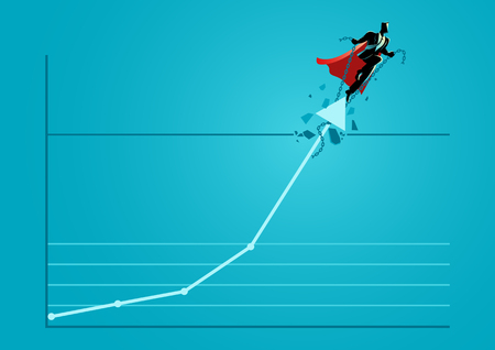 Business concept illustration of a superhero businessman taking the graphic chart up through the roof, business idiom