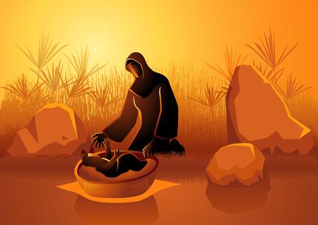 Biblisches Illustrationsset, Jochebed setzte Moses in den Nil