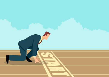 Simple flat business vector of a businessman ready to sprint on starting line. Starting career, business concept Illustration