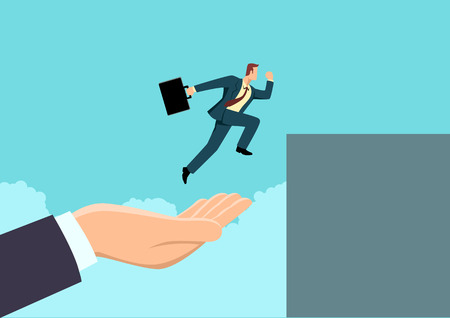 Simple flat business vector illustration of a hand helping a businessman to jump higher