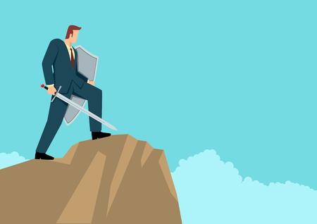Illustration vectorielle simple et plate d'un homme d'affaires optimiste tenant une épée et un bouclier debout au sommet d'une montagne, préparation, protection, précaution dans le concept d'entreprise