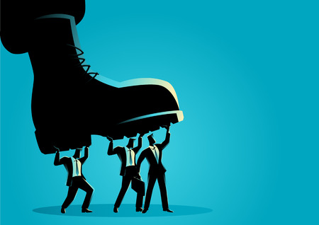 Business concept vector illustration of businessmen trampled by army boots