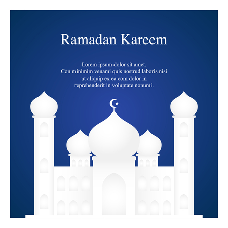 Graphic illustration of a mosque on blue ackground. Islam, Islamic, Ramadan Kareem, Eid Mubarak greeting card