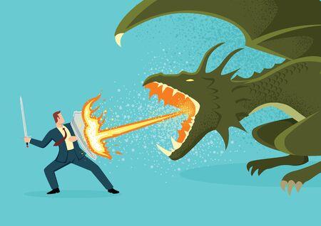 Illustration vectorielle plane simple d'un homme d'affaires combattant un dragon. Risque, courage, leadership dans le concept d'entreprise