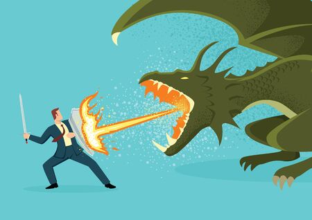 Simple flat vector illustration of a businessman fighting a dragon. Risk, courage, leadership in business concept