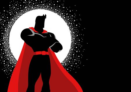Silhouette illustration of a superhero in gallant pose Ilustração