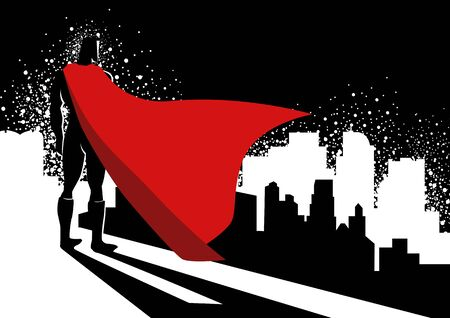 Simple flat vector graphic illustration of a superhero standing on the edge of high building  イラスト・ベクター素材