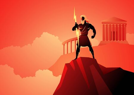 Greek god and goddess vector illustration series, Zeus, the Father of Gods and men standing on mountain Olympus
