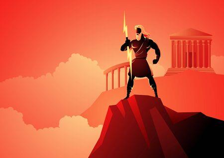 Griechische Gott- und Göttinnenvektorillustrationsserie, Zeus, der Vater der Götter und Männer, die auf dem Berg Olymp stehen