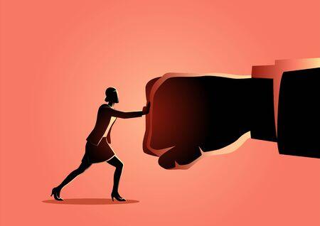 Ilustración de vector de una empresaria sosteniendo un puño gigante