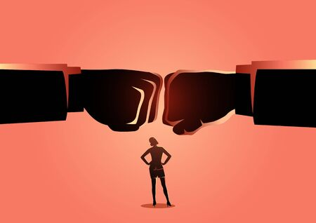 Business concept vector illustration of a businesswoman watching two giant fist clashed