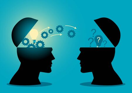 Knowledge or ideas sharing between two people head, transferring knowledge, innovation, brain storming concept