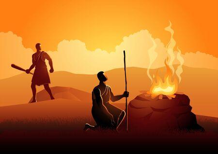 Biblische Vektorillustrationsserie. Kain und Abel, Gott bevorzugte Abels Opfer anstelle von Kains. Kain ermordete dann Abel