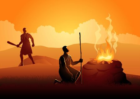 Biblical vector illustration series. Cain and Abel, God favored Abel's sacrifice instead of Cain's. Cain then murdered Abel