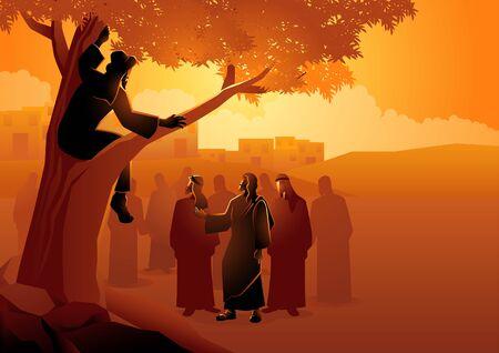Biblische Vektorillustrationsserie, Zachäus kletterte auf einen Bergahorn, um eine bessere Sicht auf Jesus zu haben.