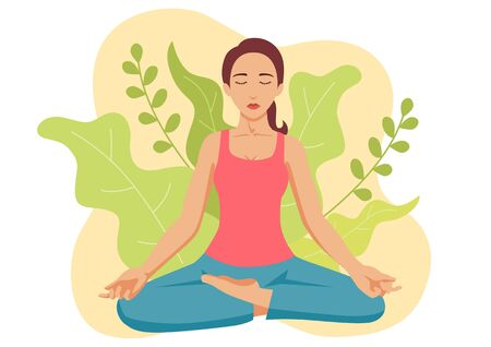 Simple flat vector illustration of a woman doing yoga with leaves decoration as the background